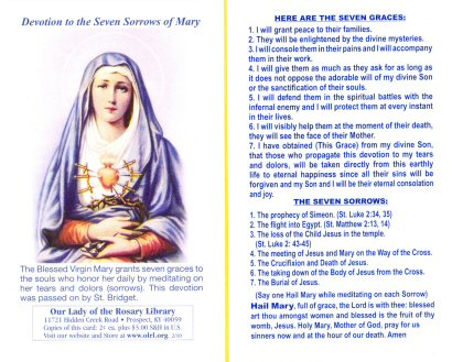 Front of Our Lady of Sorrows Prayer Card